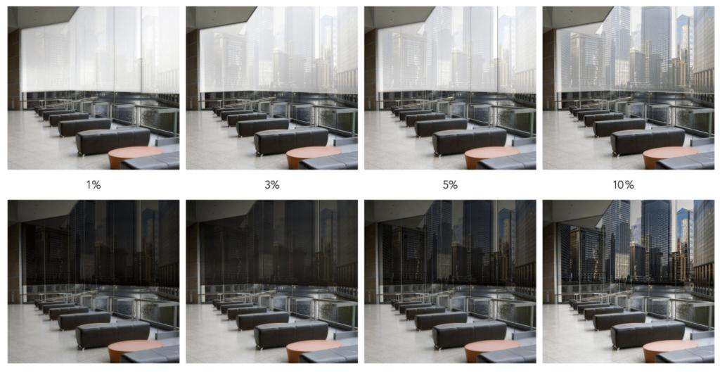 Screenové rolety majú odstupňovanú priehľadnosť látok. Fotografia ilustruje prípady faktor priehľadnosti 1%, 3%, 5%, 10%.