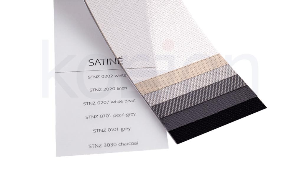 Screenové rolety majú možnosť výberu z 10 druhov látok a farebných prevedení. fotografia vzorkovníka SATINÉ
